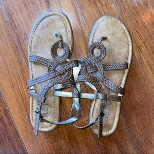 Report brown gladiator style sandals
